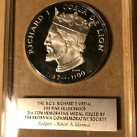 Britannia Commemorative Society 21st Richard I .999 Silver Proof Medal