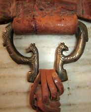 1800 Old Horse Leather Strap Ornament Brass Snake / Peacock Carved Strap clip