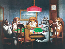 Home Decor Art Print on Canvas Oil Painting Dogs Playing Poker 12X16