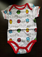 BOYS INFANT MARVEL SUPERHEROES WHITE SIZE 3-6 MONTHS CREEPER BODYSUIT NWOT