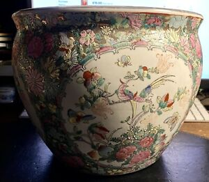 Antique Chinese Porcelain Hand Painted Fish Bowl Planter. Stamp To Base