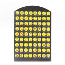 Cute 36 pairs Round Yellow 8mm Resin Emoji Stud Earrings Women Girl Jewelry