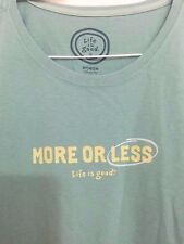 "LIFE IS GOOD WOMENS LIGHT GREEN ""More Or Less""  t-shirt size L Short Sleeve"