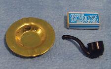 Pipe & Ashtray, Box of Matches, Dolls House Miniature, Smoking Paraphernalia