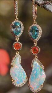 Elegant Women 18K Rose Gold Filled Opal Aquamarine Long Ear Stud Dangle Earrings