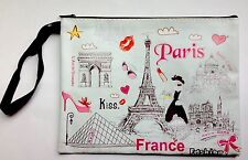Cosmetic Bag - Paris Icons - Durable, Soft Vinyl  With Zipper and Wrist Strap