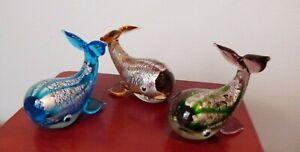 Miniature Blown Glass Lustre Whales x 3 - Aqua, Purple and Green Silver Colours