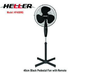 HELLER 40cm 3 Speed+Pedestal Fan+Tilt+Oscillating+Remote Air Cooling HF40BRG-NEW