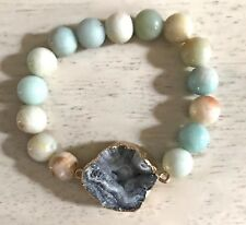 Sparkly Druzy Drusy 10mm Round Amazonite Blue Beaded Gemstone Stretch Bracelet