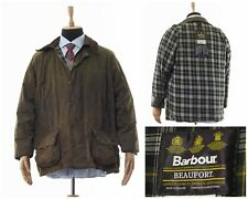 Mens BARBOUR BEAUFORT Jacket Waxed Wax Oil Hunting Coat Green Size C48/122cm 2XL