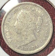 1889 F5 ~ CANADA ~ 5 CENTS ~ .925 SILVER ~ Queen VICTORIA ~ VG8 Condition