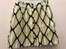 Fossil skirt. Green, blue, white geometric pattern. Lined, button up. Size 4