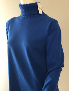 Talbots Womens Blue Turtleneck Sweater Top Large NEW