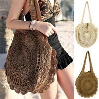 Women Summer Round Beach Straw Shoulder Bag Handbag Shopper Tote Purse Satchel