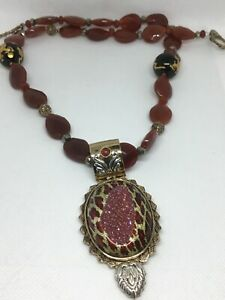 Vintage AMY KAHN RUSSELL Carnelian Dragon Beads Sterling Brass Necklace AKR