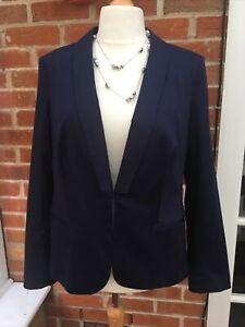 Ladies Papaya Size 20 Navy Blue Jacket Blazer Stretchy Wedding Excellent