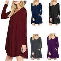 New Women's V Neck Long Sleeve Top Shirt Blouse Tunic Dress L/Plus Size 2XL 3XL