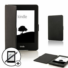 In Pelle Nera Cover Smart Per Amazon Kindle Paperwhite 2015 + Screen Prot. Stylus