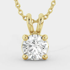 Round Solitaire Yellow Gold Natural Diamond Pendant Necklace SPECIAL PROMOTION!