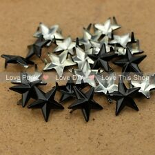 100pcs 15mm DIY Black Star Rivet Punk Bag Belt Leathercraft Bracelets Clothes
