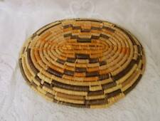 Vintage  Coil Basket Plate EARTH TONE GEOMETRIC