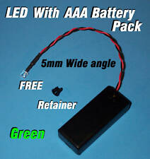 5mm LED + AAA BATTERY PACK & SWITCH GREEN WIDE ANGLE(Halloween / Projects / DIY)