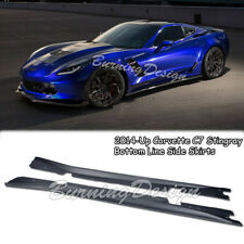 For 14-Up Corvette C7 ABS Bottom Line Side Skirts Rocker Panels Stingray Z06 Z07