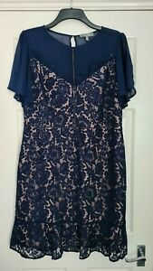 OASIS Blue Floral Lace Dress With Beige Lining - Size 18 - Brand New