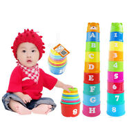 Stack & Nest Plastic Cups Rainbow Stacking Tower Educational Stacking Kids ToyHT