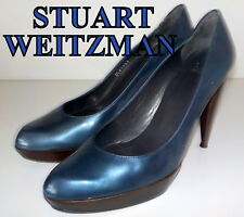 "Fabulous ""STUART WEITZMAN"" BLUE  LEATHER Court  Shoes  Pumps UK 6.5 EU 40 £370"
