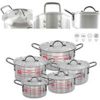 5pc Aluminium Oven & Hob Cooking Casserole Stockpot Pot Pan Set with Lids Carina