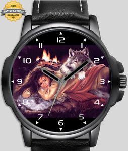 Romancing With The Wolf Art Design Unique Unisex Beautiful Wrist Watch UK FAST