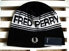 FRED PERRY Black Logo 70% WOOL Beanie Hat Toque Hat OSFA UNISEX TAGS