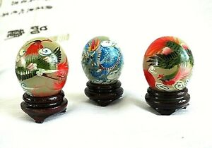 3 CHINESE JADE DECORATIVE EGG ORNAMENT HAND PAINTED LUCKY DRAGON PHOENIX W STAND