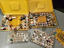Vintage Wilson sewing boxes with 140+ wooden thread spools with thread