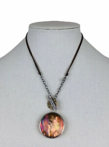 Silpada Sterling Silver Amber Waves Etched Shell Reversible Necklace N2230