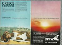 1969 OLYMPIC AIRWAYS 2-page advertisement, Greek Airline, bikini sunset