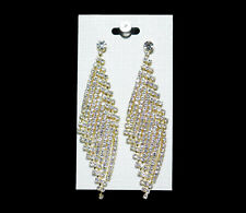 Gold Color Earring Chandelier Crystal Rhinestone Bridal Wedding Queen Pageant