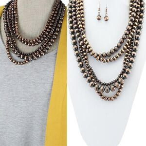 Copper Faux Navajo Style Acrylic Pearls Layer Multi Strand Necklace Set Western