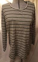 Take Nine Maternity Shirt Green Striped XL extra large long sleeve