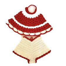 New listing Set of 2 Vintage Red & Cream Hot Pad /Potholders Hand Crocheted 2 Bathing Suit