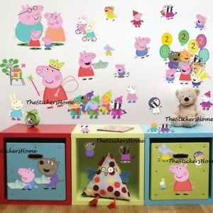 Peppa Pig Family Wall Stickers Baby Kids Bedroom Nursery Decor Art Mural Decal