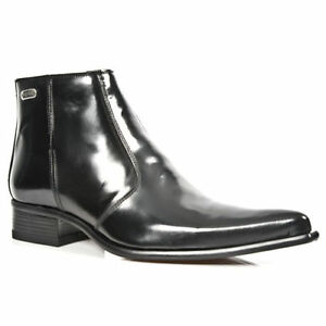 NEW ROCK 2260-S20 Matellic Black Patent Ankle Boots Western Metal CLASSIC shoes