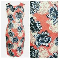 Jaeger Orange Blue Floral Embossed Smart Party Straight Pencil Dress Size 12
