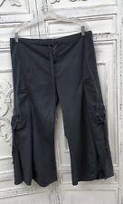 XCVI Sz L Ruched Drawstring Flowing Capri Pants Gaucho Dark Gray Tie Dye Pockets