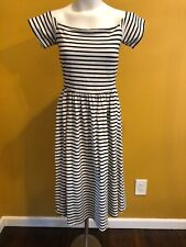 Black White Bardot Stripe Dress Who What Wear Size Small Off The Shoulders