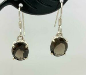 925 Sterling Silver Smokey Smoky Quartz Topaz Gemstone Earrings Oval Claw Drop