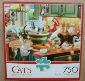 A 750 PIECE JIGSAW PUZZLE BY BUFFALO GAMES - KITTEN KITCHEN CAPERS