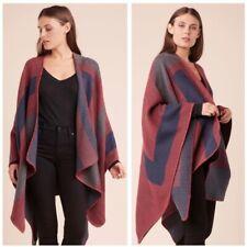 BB Dakota Reversible Color  Block Poncho Shawl Wrap Blanket Stitch Hem One Size