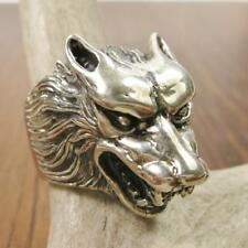 Solid Sterling Silver Snarling Wolf Head Biker Mens Ring Size 8 9 9.5 10 10.5 11